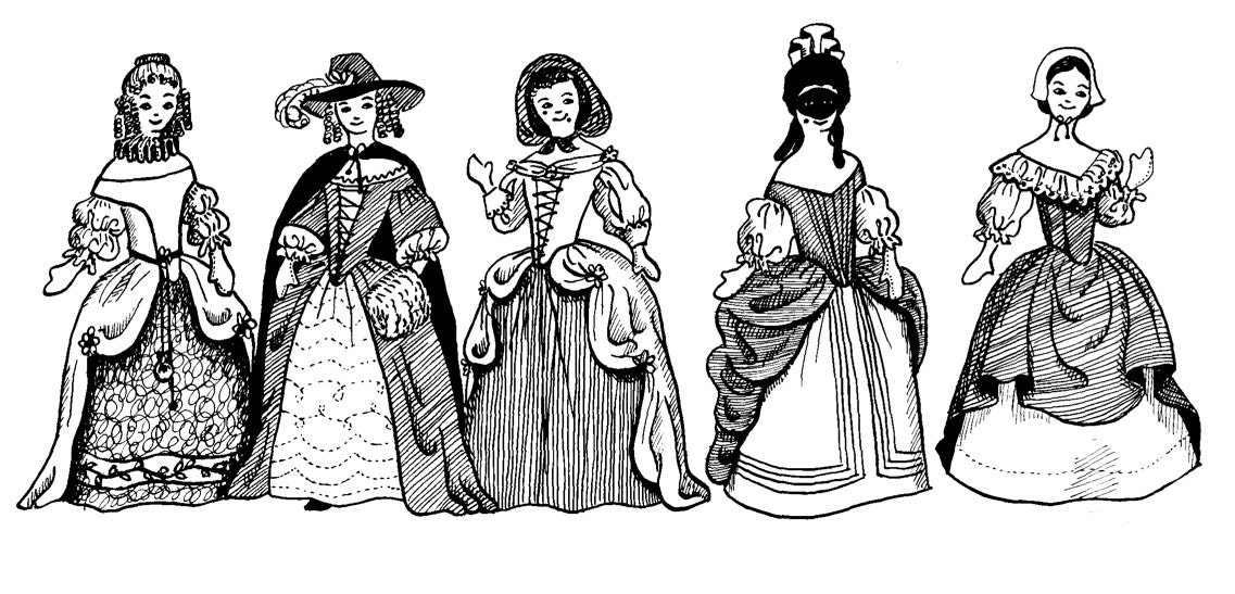 1600s Renaissance Costume Clothing Pattern Collection For