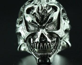 Creeping Plant skull ring silver 925  Free shipping R6