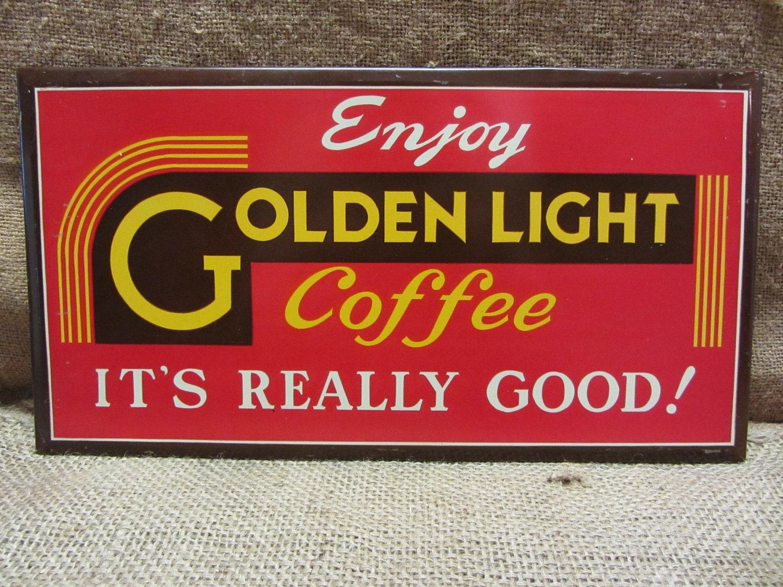 vintage golden light coffee sign advertising metal signs. Black Bedroom Furniture Sets. Home Design Ideas