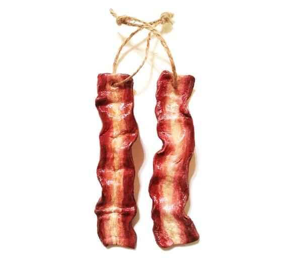 Handmade bacon fake food salt dough christmas tree decoration for Bacon christmas tree decoration