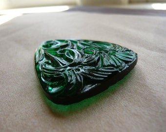 Vintage Carved Floral Glass Pendant