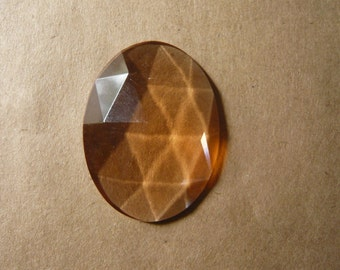 Vintage Peach Faceted Glass Cabochon