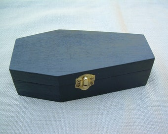 Plain Black Coffin with Red Lining