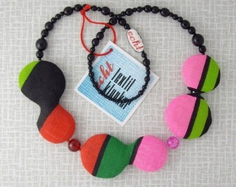 black and candy-striped fabric necklace