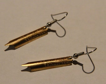 Simple Fountain Pen Nib Earrings, Small, Surgical Steel Hooks