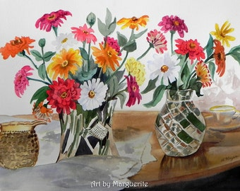 Original Watercolor Still Life of Colorful Flowers