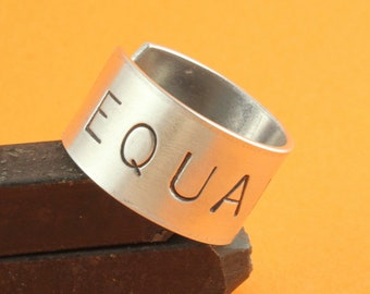 SALE - Equality LGBT Ring - Adjustable Aluminum Ring - Handstamped Unisex Ring