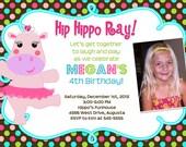 Hippo Ballerina Brown Polka Dot Birthday Invitation - Printable