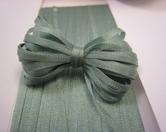 Silk Ribbon, Sage, 2mm or 4mm wide  -3 yards -