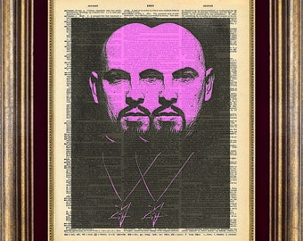 ANTON LAVEY satan Dictionary page art print book page art print Anton Lavey satan Pink Devil up cycled