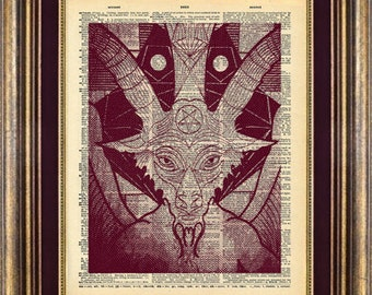 BAPHOMET Dictionary page art print book page art print up cycled