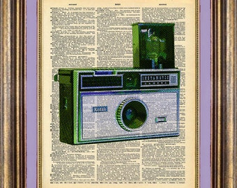 camera INSTAMATIC Dictionary page art print book page art print up cycled