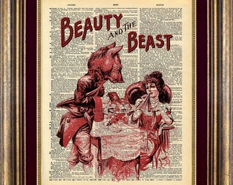 Beauty Beast antique Dictionary page art Book page art Vintage Dictionary Page Up Cycled