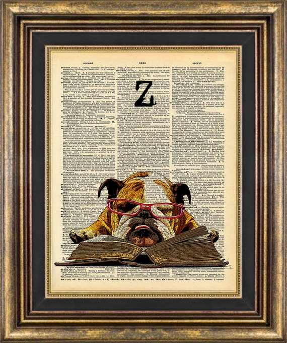 Bulldog SLEEP STUDY dog Print Dictionary Page Original Unique giftt book page art print up cycled