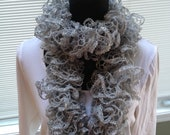 Hand knit sparkle ruffle scarf  ON SALE