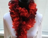 Hand knit ruffle scarf in candy apple ON SALE