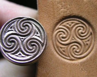 012-01 Celtic Circle Spirals Vintage Leather stamp Biker homemade Saddlery Tool