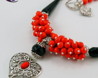 Black Faceted Onyx Red Howlith Valentines Day Necklace Vintage Heart