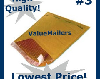 100 3 Kraft Bubble Lite Bubble Mailers 8.5x14.5