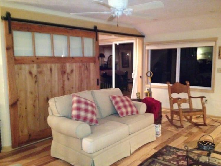 large barn door room divider made to order by. Black Bedroom Furniture Sets. Home Design Ideas