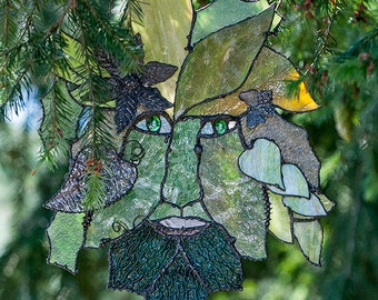 Stained Glass Image, Greenman, Stained glass photo, Art Photo, 8x10