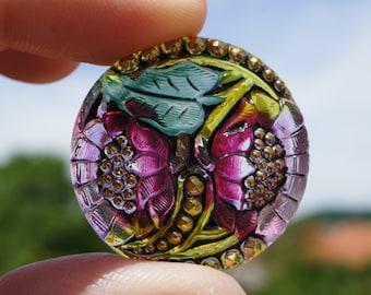 Hand Made Art Czech Glass Buttons Floral Design Size12,  27mm 1pc (BUT043/12)