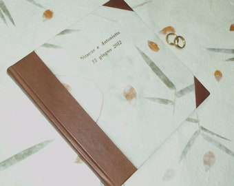 GUESTBOOK-WEDDING BOOK-Italian handmade leather and paper