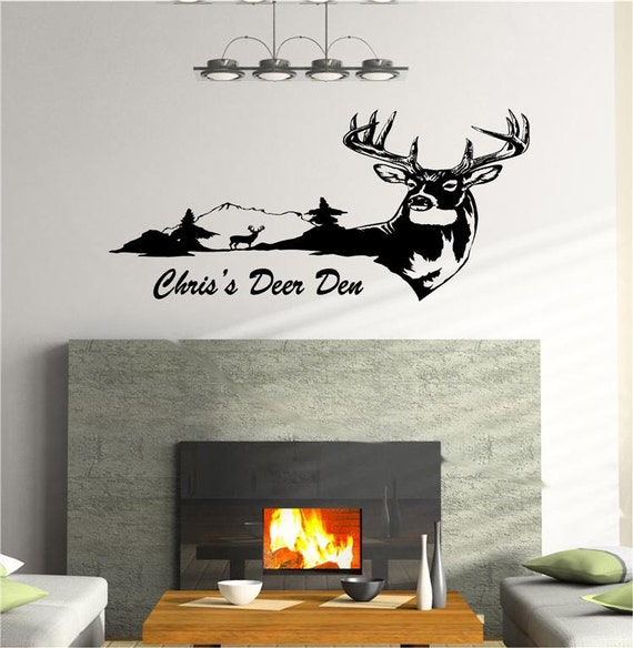 cabin and lodge decor deer buck vinyl wall art decal animal hunting