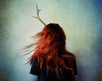 Lost Conceptual Photograph. girl portrait, dark art, female, contemporary, surreal photo, red hair, deer antler