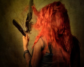 Deepest Scar 8x8 Conceptual Photograph. girl, woman, dark art, surreal photo, feather, black, red hair