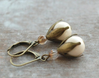 """Bridal earrings,  Art Deco inspired  """"Paris 1907""""  // ivory-colored, czech glass beads"""