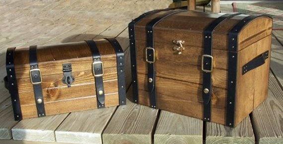 Pirate Chest Medium 15 W Straps Buckles Latch By