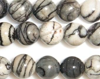 8mm Round Zebra Jasper Beads - 9144
