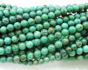 6mm Round Genuine Turquoise Semi Gemstone AB Grade Strand 15 inches length, 38 cm - 4245-