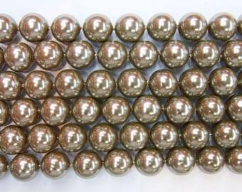 14mm Round Shell Dark Grey South Sea Type A Grade - 6843
