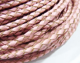3mm Braided Genuine Leather Cord Pink String - 3601 - Wholesale Leather Cord