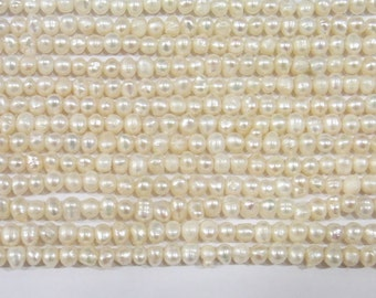 4-5mm Freshwater Pearl White Offround 15 inches Length 38cm - 5364