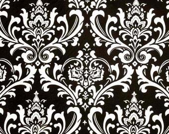 Designer Fabric- Premier Prints Ozborne Black and White Damask- Fabric by the Yard- Elegant Wedding Fabric- Modern Drapery Fabric-