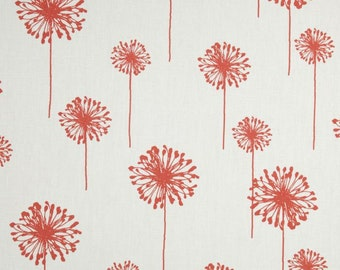 Floral Home Decor Fabric- Premier Prints Coral White Dandelion Flowers- Fabric by the Yard- Multiple Yardage- FAST SHIPPING- Textiles