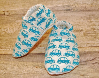 Blue Cars Soft Sole Cloth Baby Shoe