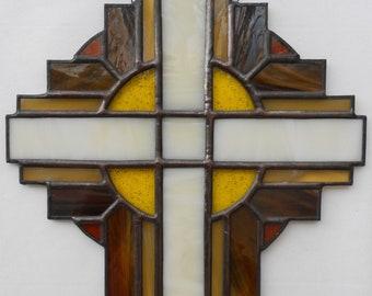 "Handmade 10"" Stained Glass Cross Suncatcher, Brown  #103"