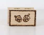 Dreidel woodburned trinket box