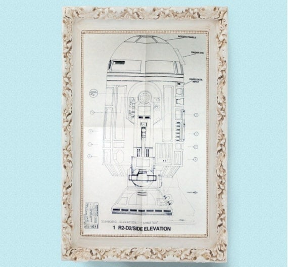1977 R2-D2 Star Wars Vintage Blueprint Poster