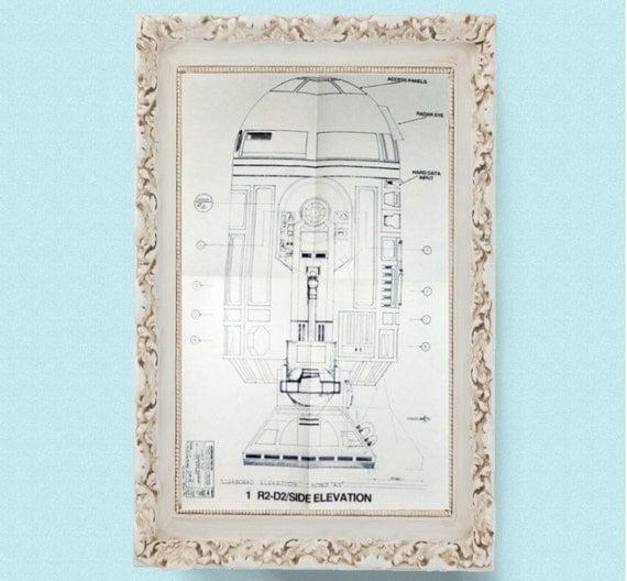 1977 R2-D2 Star Wars Vintage Blueprint Poster