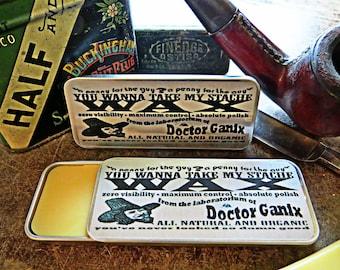 Moustache Wax - All Natural Maximum Hold - Doctor Ganix - Pocket Slider Stache Tin