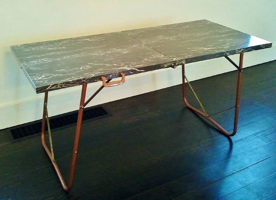 Mid Century Modern Folding Metal Table With Bakelight Handle