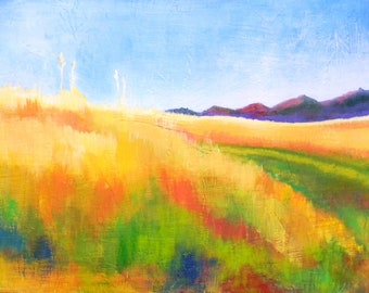 "Card of original landscape painting on Linen Paper 5"" x 7"""