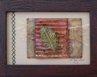 Ancient Leaf- Framed Mixed Media art collage on paper