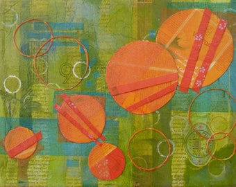 Tangerine Dream-Mixed Media paper mounted on canvas