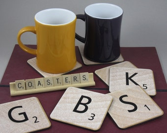 Four Personalized Scrabble Coasters - Made to Order